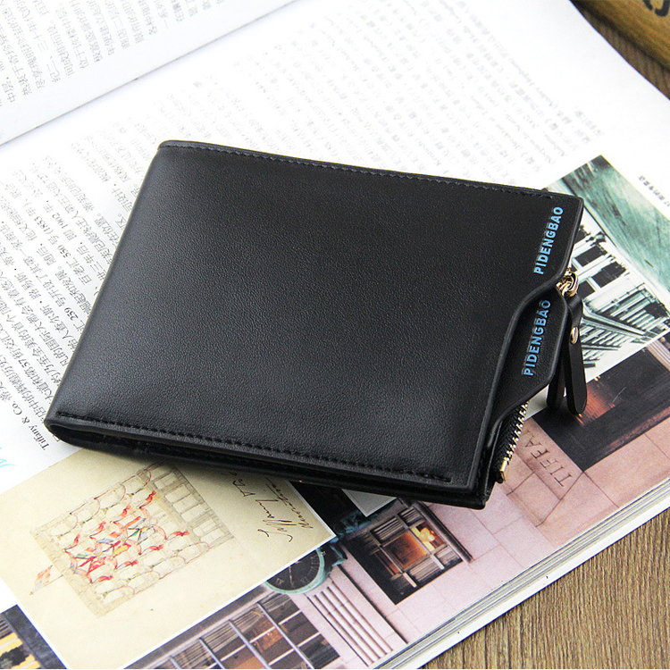 WALLET Bi Fold PU Leather Wallet With Removable Card Case - Black