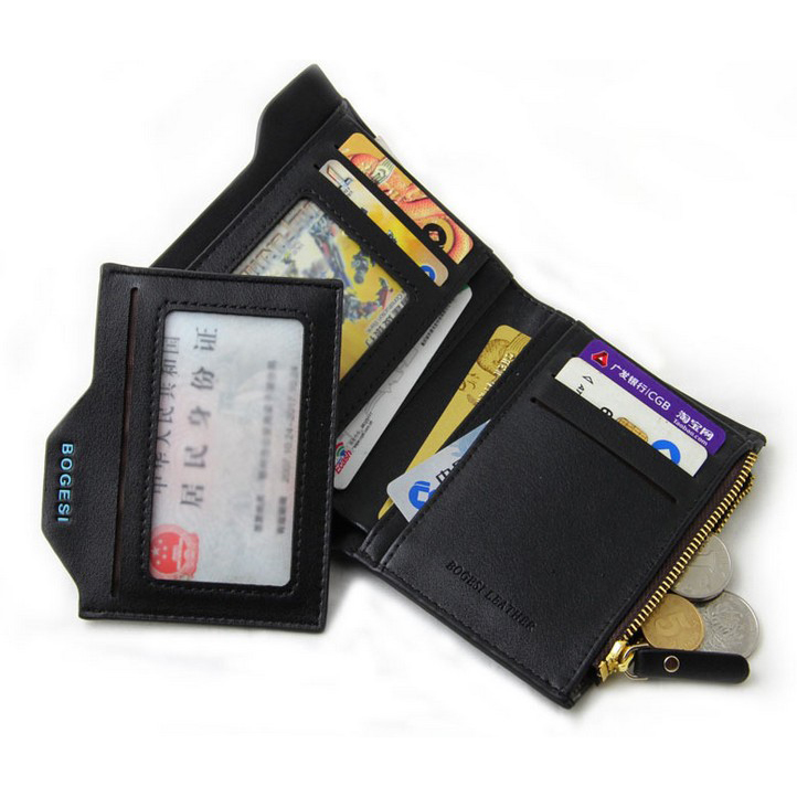 WALLET PU Leather Wallet With Removable Card Case - Black