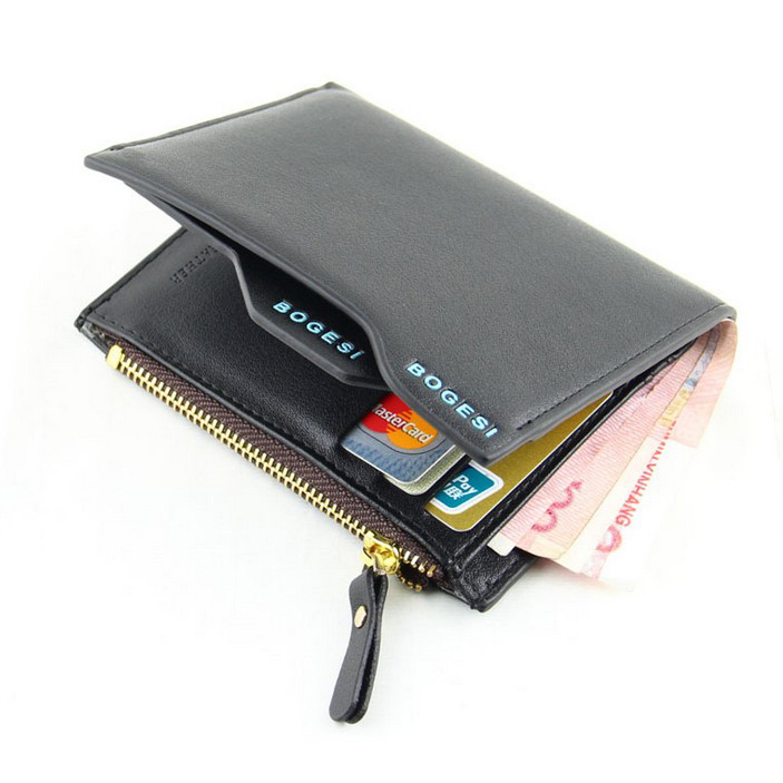 PU Leather Wallet With Removable Card Case - Black