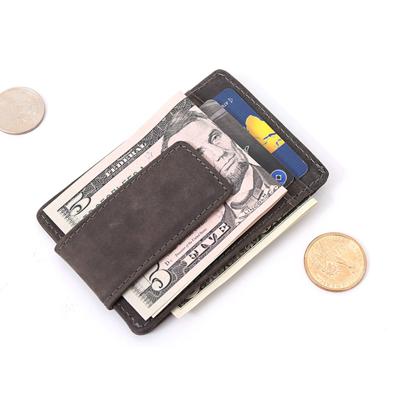 WALLET Leather Money Clip Wallet - Coffee