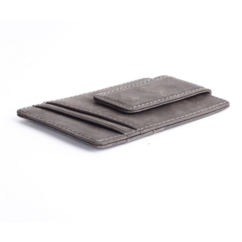 WALLET Leather Money Clip Wallet - Grey