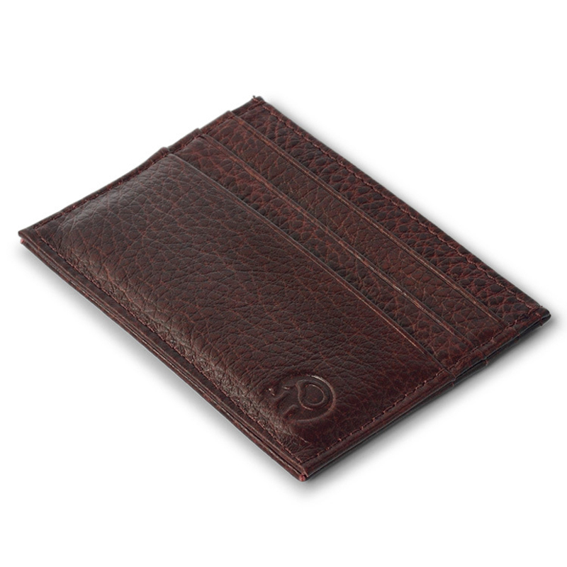 WALLET Small leather credit card wallet - Brown