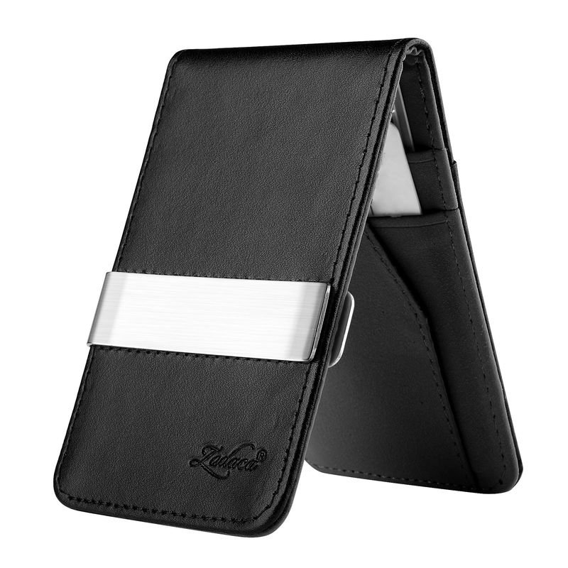 Leather Metal Money Clip Wallet - Black