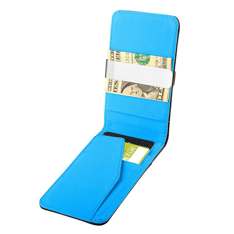 Leather Metal Money Clip Wallet - Black/Blue