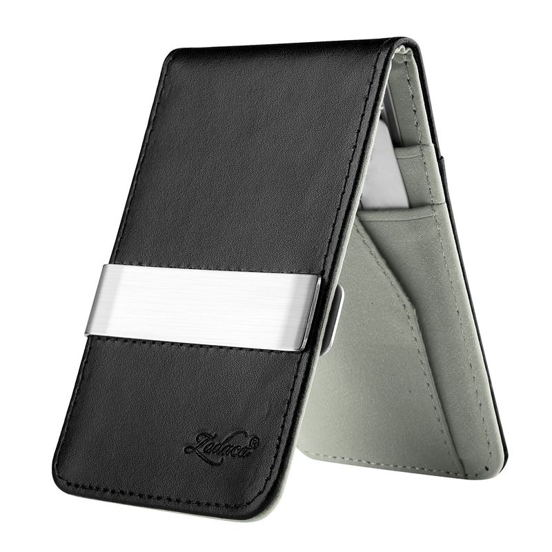 WALLET Leather Metal Money Clip Wallet - Black/Grey