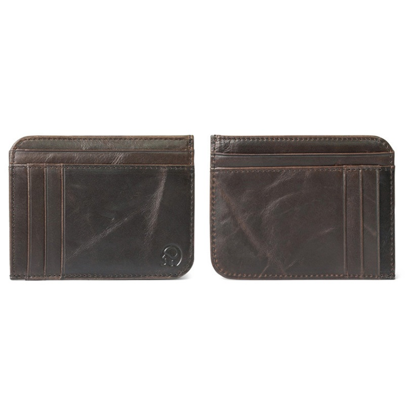 WALLET Minimalist leather wallet with 11 pockets - Dark Brown