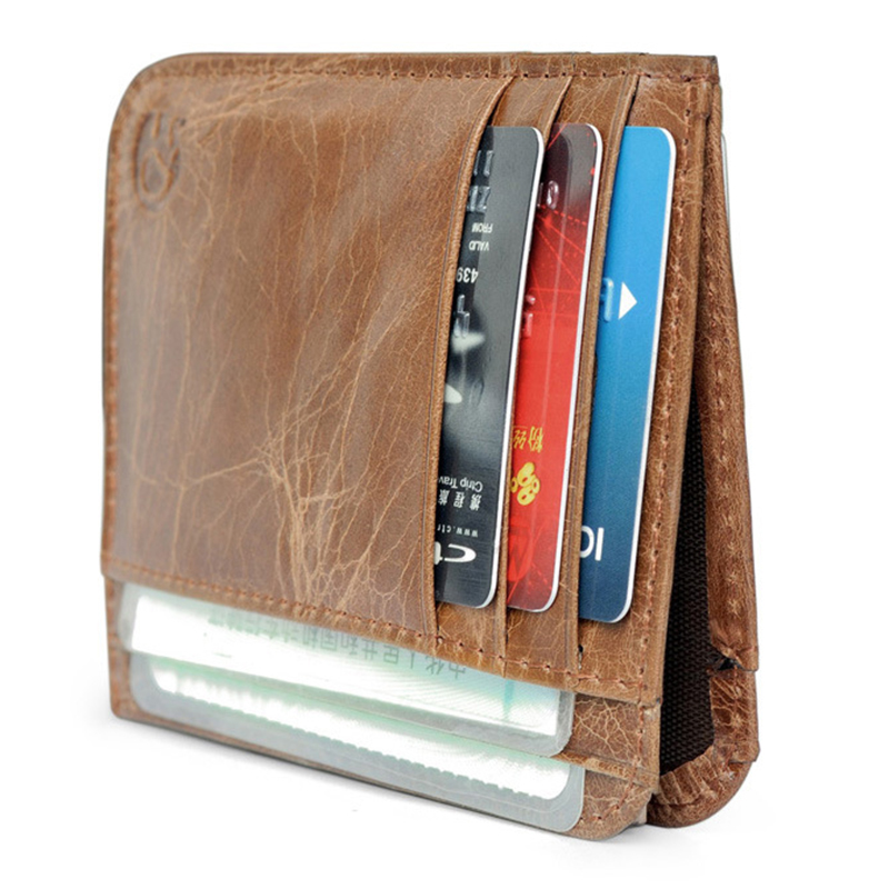WALLET Minimalist leather wallet with 11 pockets - Brown