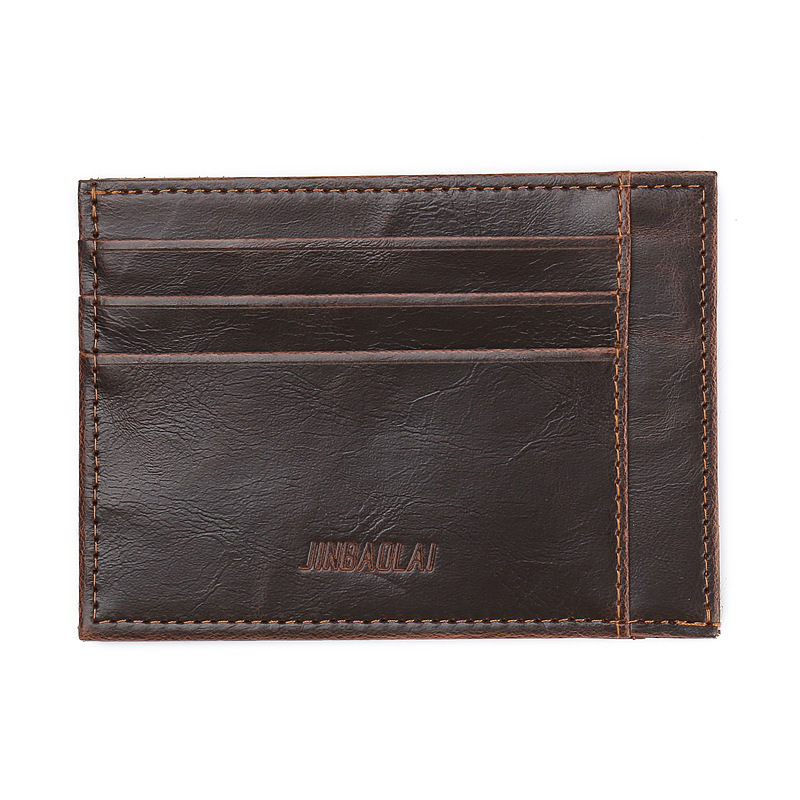 WALLET Minimalist synthetic leather wallet with 9 pockets - Brown