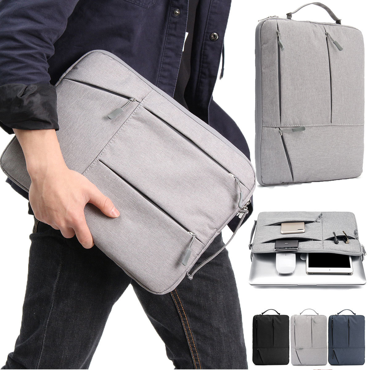WALLET 13 Inch Portable Laptop Sleeve - Grey
