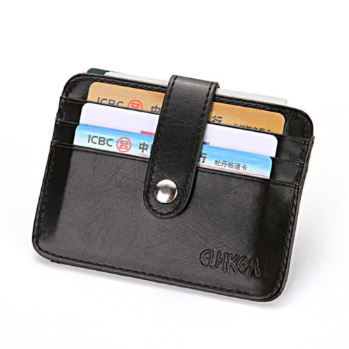 WALLET Mens Minimalist Wallet With Strap - Black