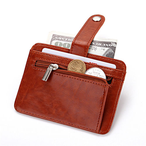 WALLET Mens Minimalist Wallet With Strap - Dark Brown