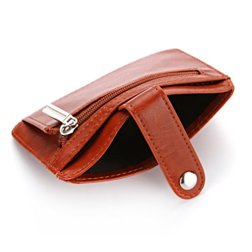 WALLET Mens Minimalist Wallet With Strap - Brown