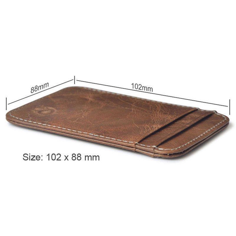 WALLET Slim leather credit card wallet - Dark Brown