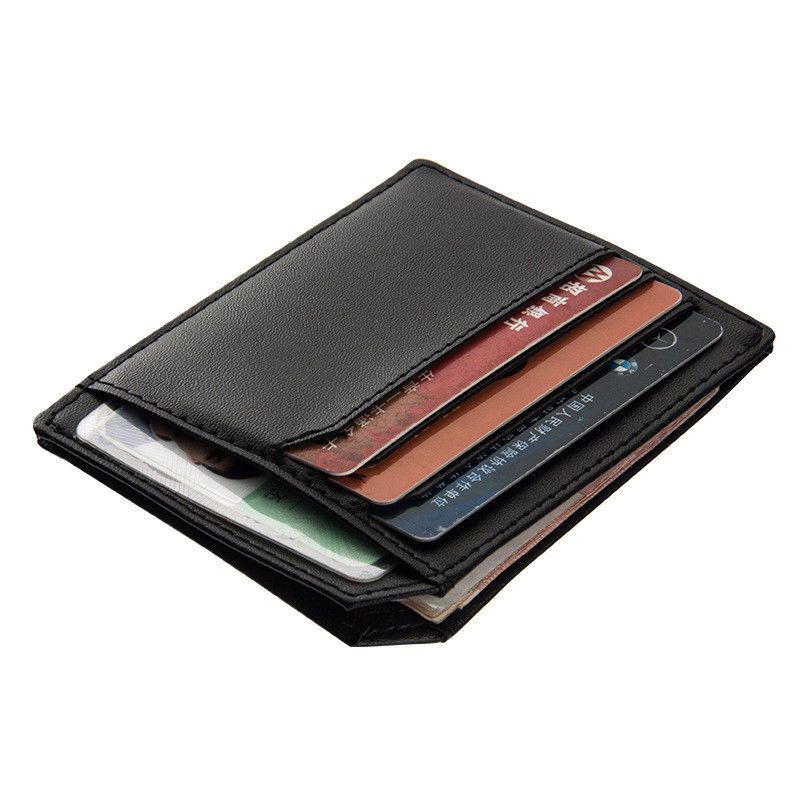 WALLET Minimalist leather wallet with 9 pockets - Coffee