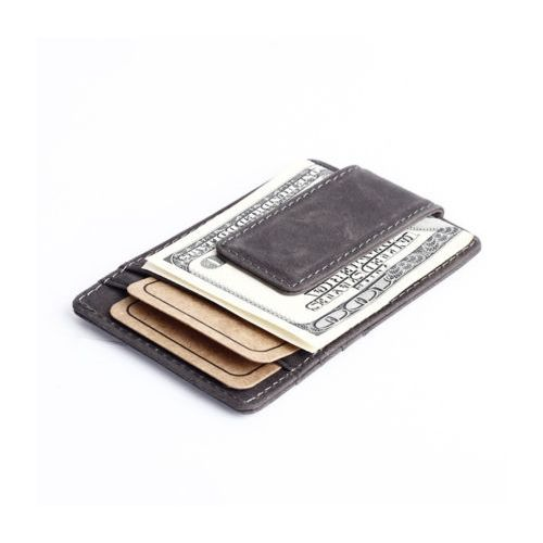WALLET Slim Leather Wallet With Metal Money Clip - Black