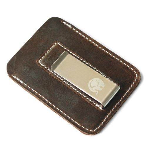 WALLET Slim Leather Wallet With Metal Money Clip - Dark Brown