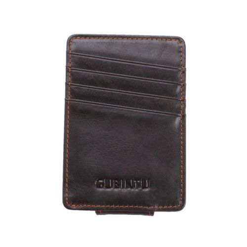 WALLET Leather Money Clip Wallet - Dark Brown