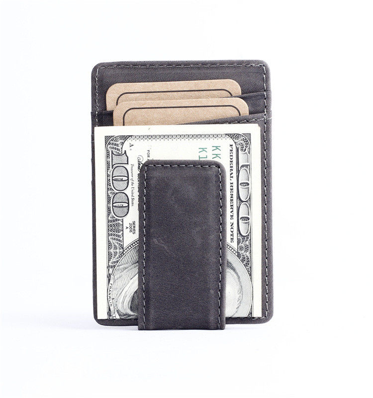 WALLET Leather Money Clip Wallet - Black