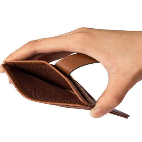 WALLET Mens Minimalist Wallet With Strap - Dark Brown