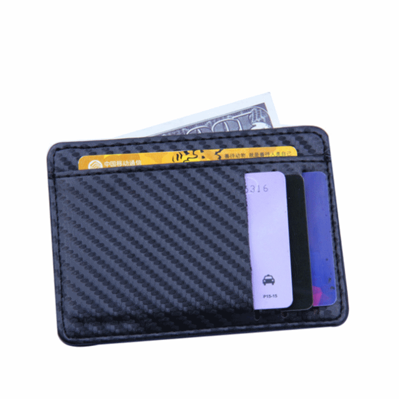 WALLET Slim PU Leather Wallet With 9 Pockets - Carbon Blue