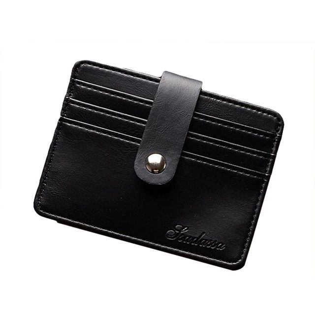 Mens Minimalist Wallet With Strap - Black