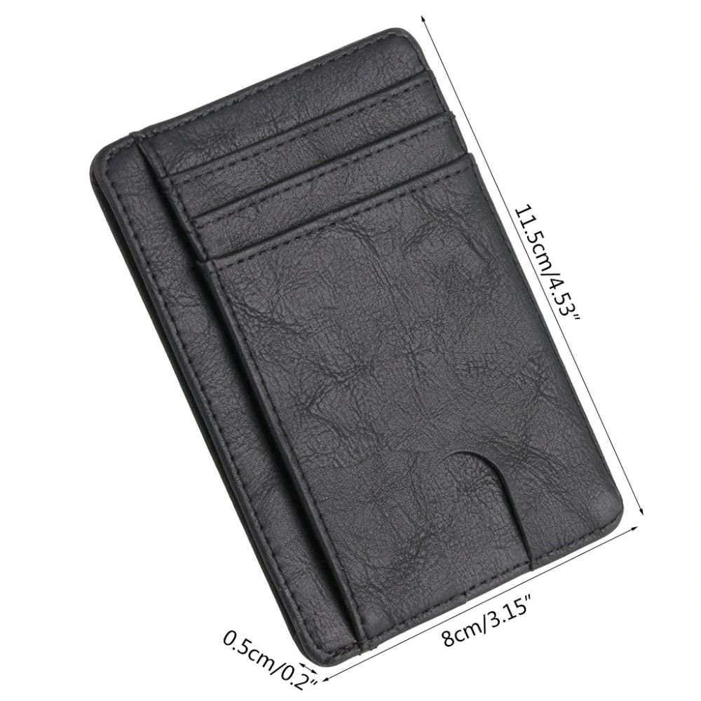 WALLET Slim PU Leather Wallet With RFID - Carbon