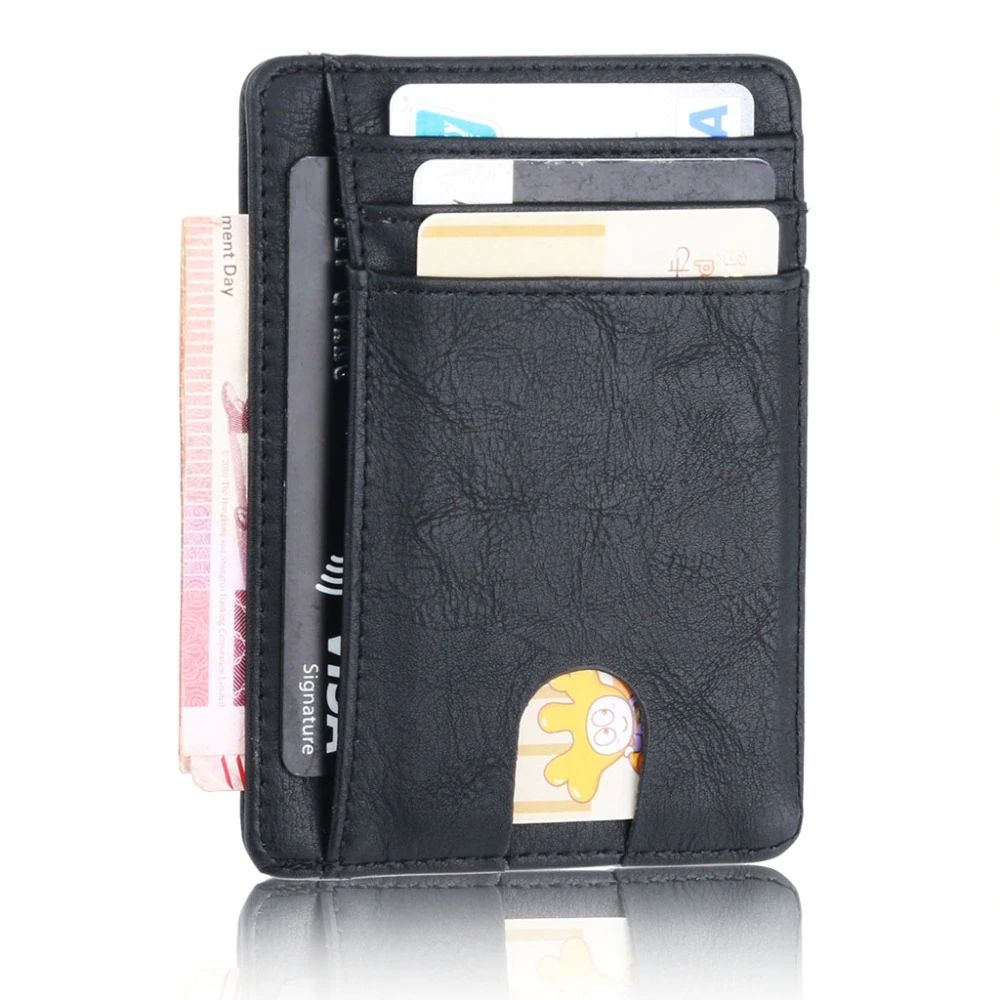 WALLET Slim PU Leather Wallet With RFID - Blue