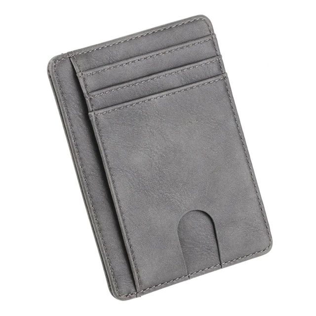 WALLET Slim PU Leather Wallet With RFID - Grey