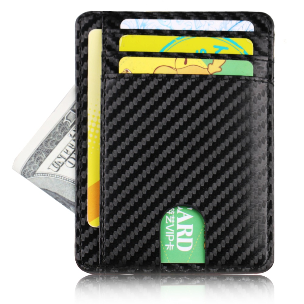WALLET ארנק דמוי עור שטוח 8 תאים עם RFID - קרבון