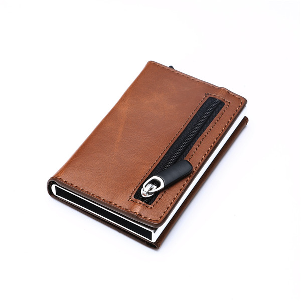 Aluminum Wallet With PU Leather And Zipper - Brown