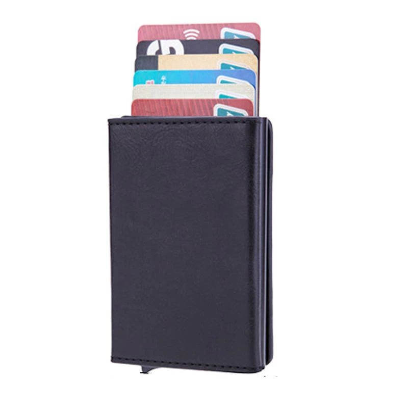 Aluminum Wallet With PU Leather And Zipper - Black