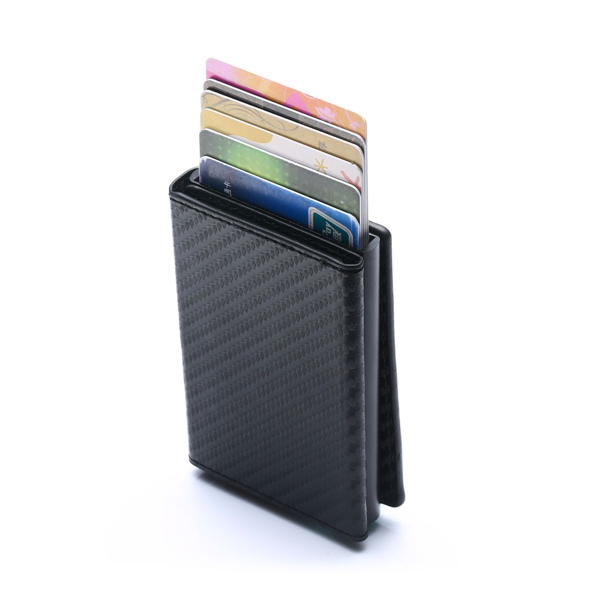 Aluminum Wallet With PU Leather And Zipper - Carbon