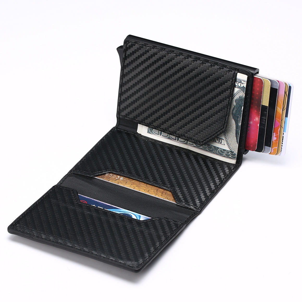 WALLET Aluminum Wallet With PU Leather And Zipper - Blue