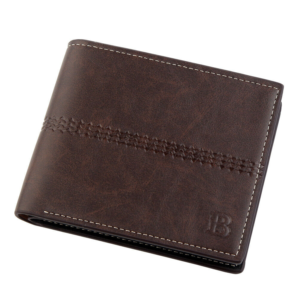 WALLET Bi Fold PU Leather Wallet  - Dark Brown