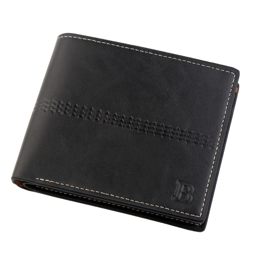 WALLET Bi Fold PU Leather Wallet  - Black
