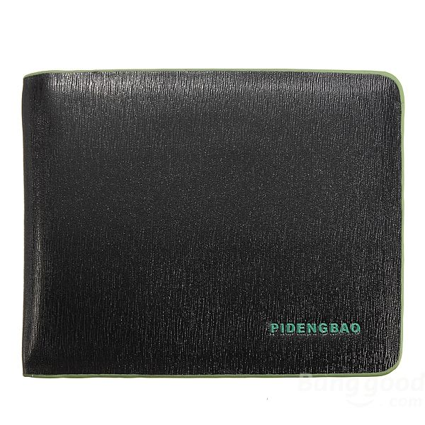WALLET Bi Fold PU Leather Wallet  - Black/Green