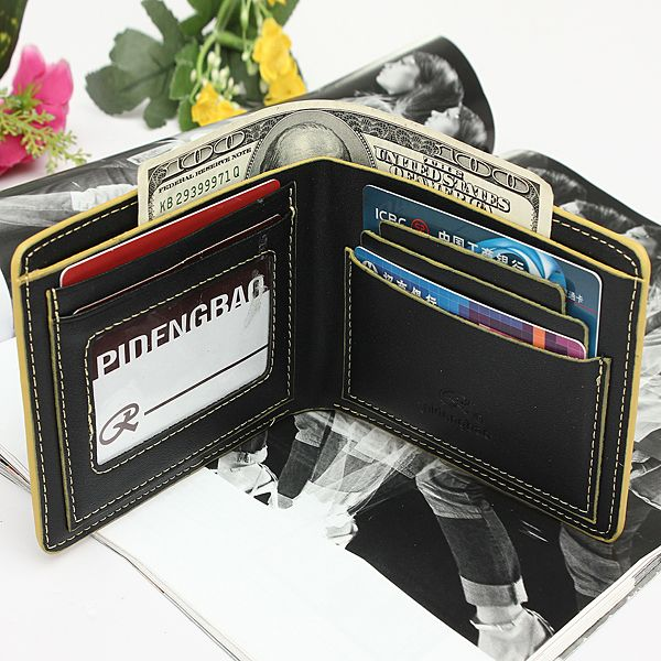 WALLET Bi Fold PU Leather Wallet  - Black/Blue