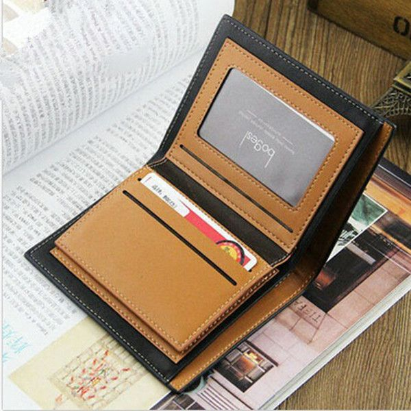 WALLET Bi Fold PU Leather Wallet  - Black/Strips