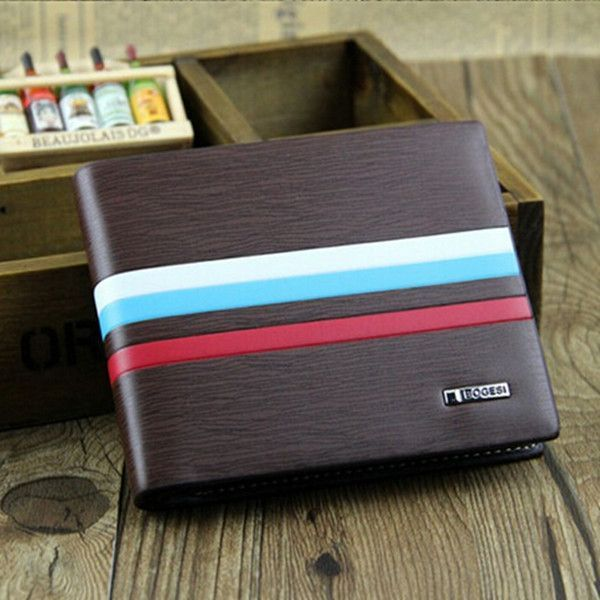 WALLET Bi Fold PU Leather Wallet  - Brown/Strips