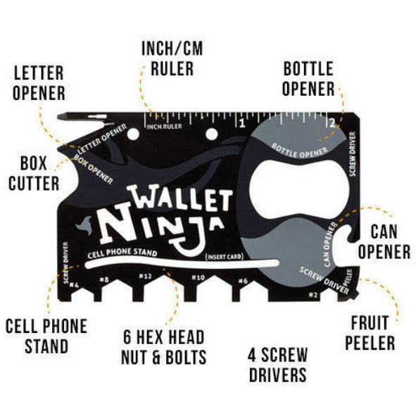 WALLET Wallet Ninja 18 in 1 Multi Credit Card Tools  - Black