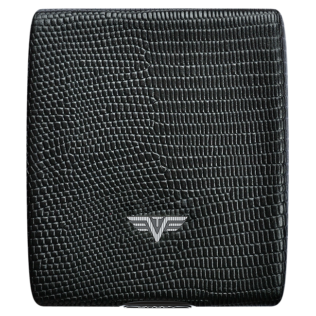 TRU VIRTU Aluminum Wallet Beluga - Money & Cards - Leather Line - Black Iguana
