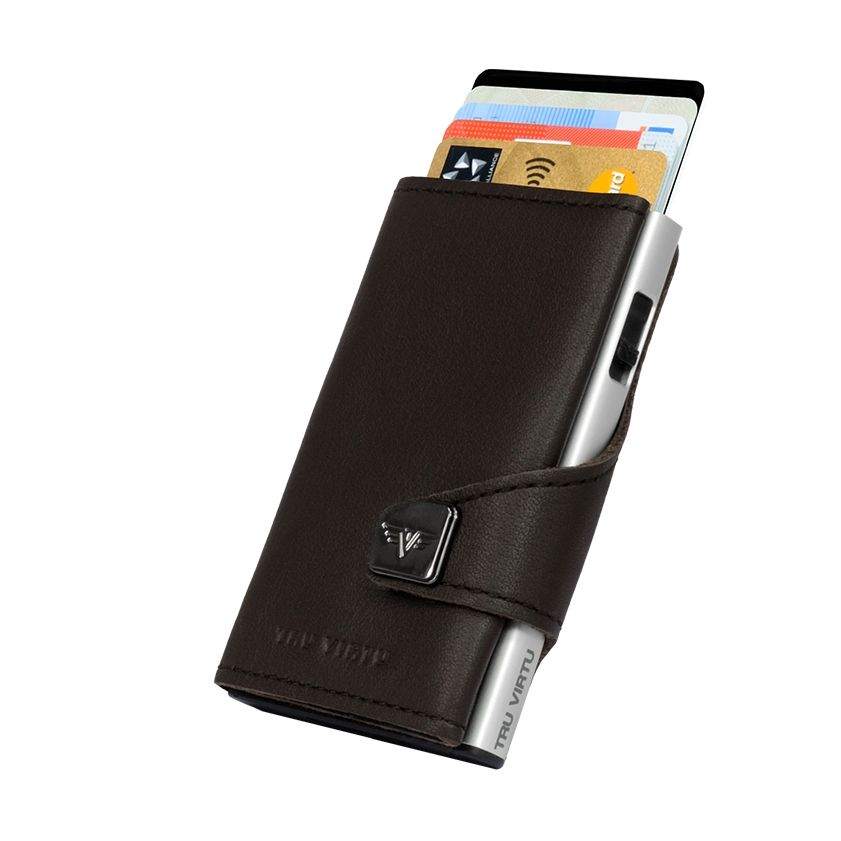 TRU VIRTU Click n Slide Wallet - Nappa Brown