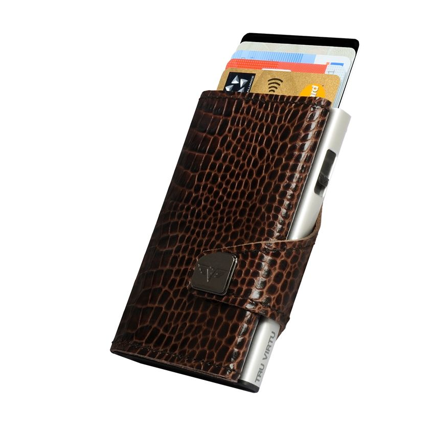 Click n Slide Wallet - Croco Brown