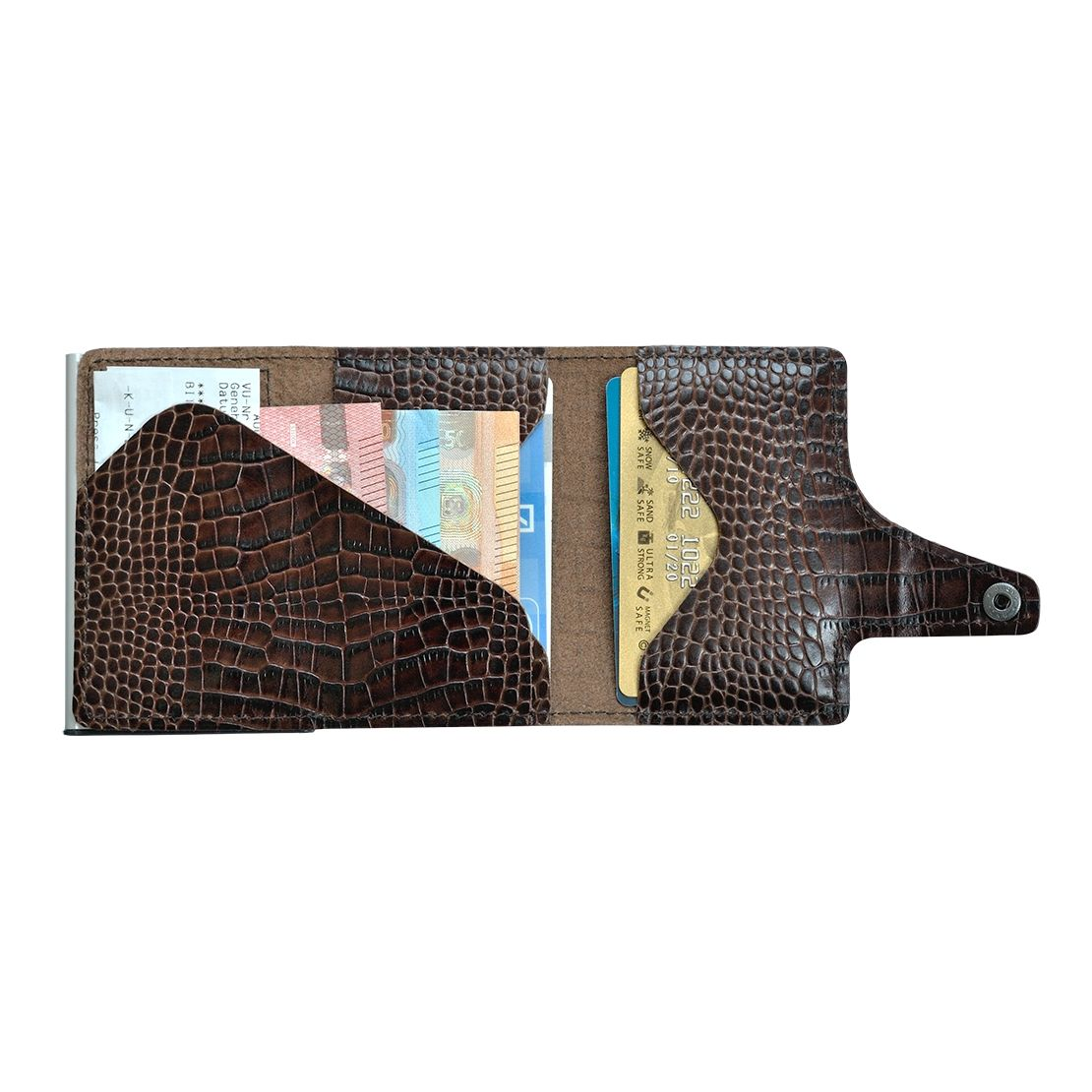 TRU VIRTU Click n Slide Wallet - Croco Brown