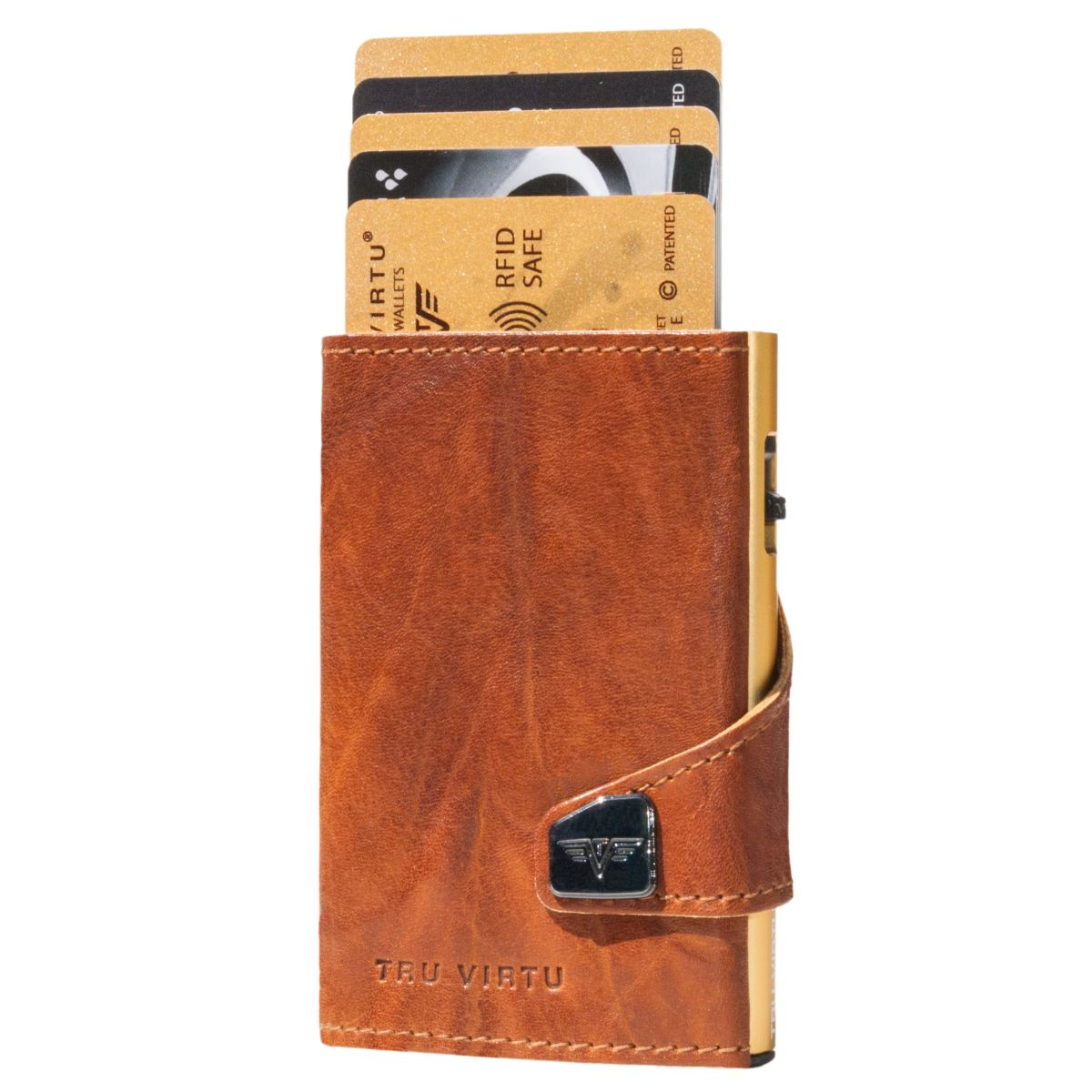 TRU VIRTU Click n Slide Wallet - Caramba Brown / Gold