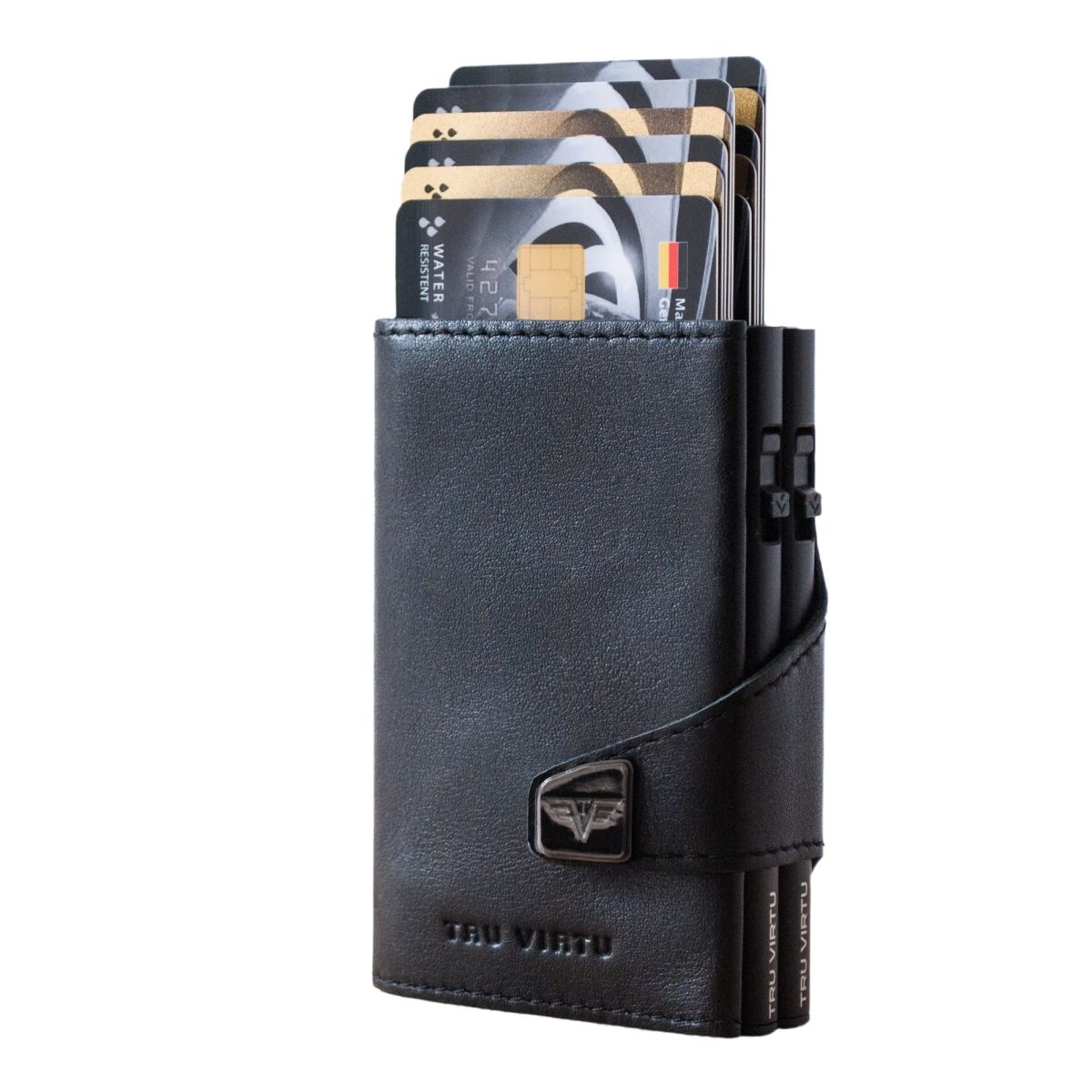 TRU VIRTU Click n Slide Double Wallet - Nappa Black