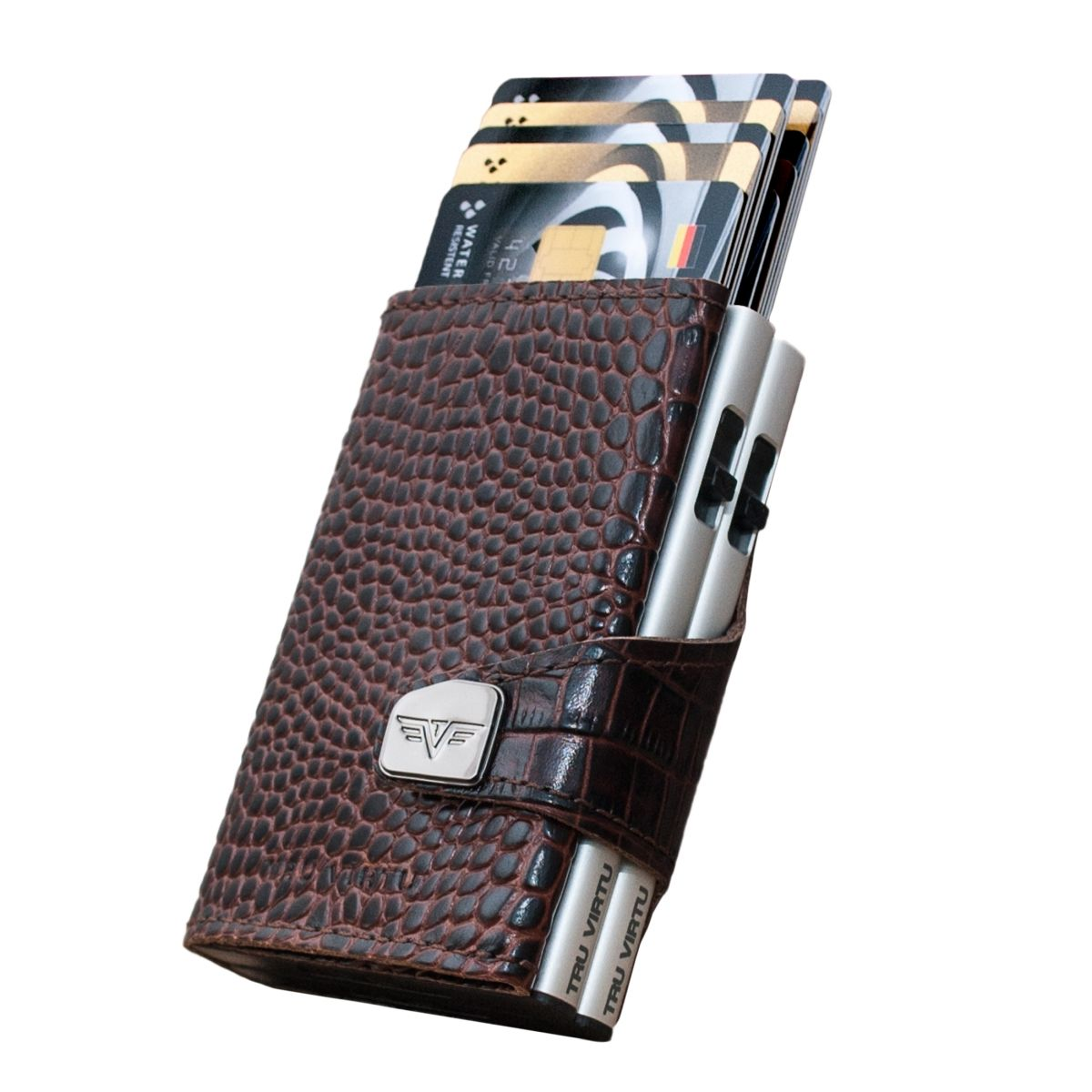 Click n Slide Double Wallet - Croco Brown