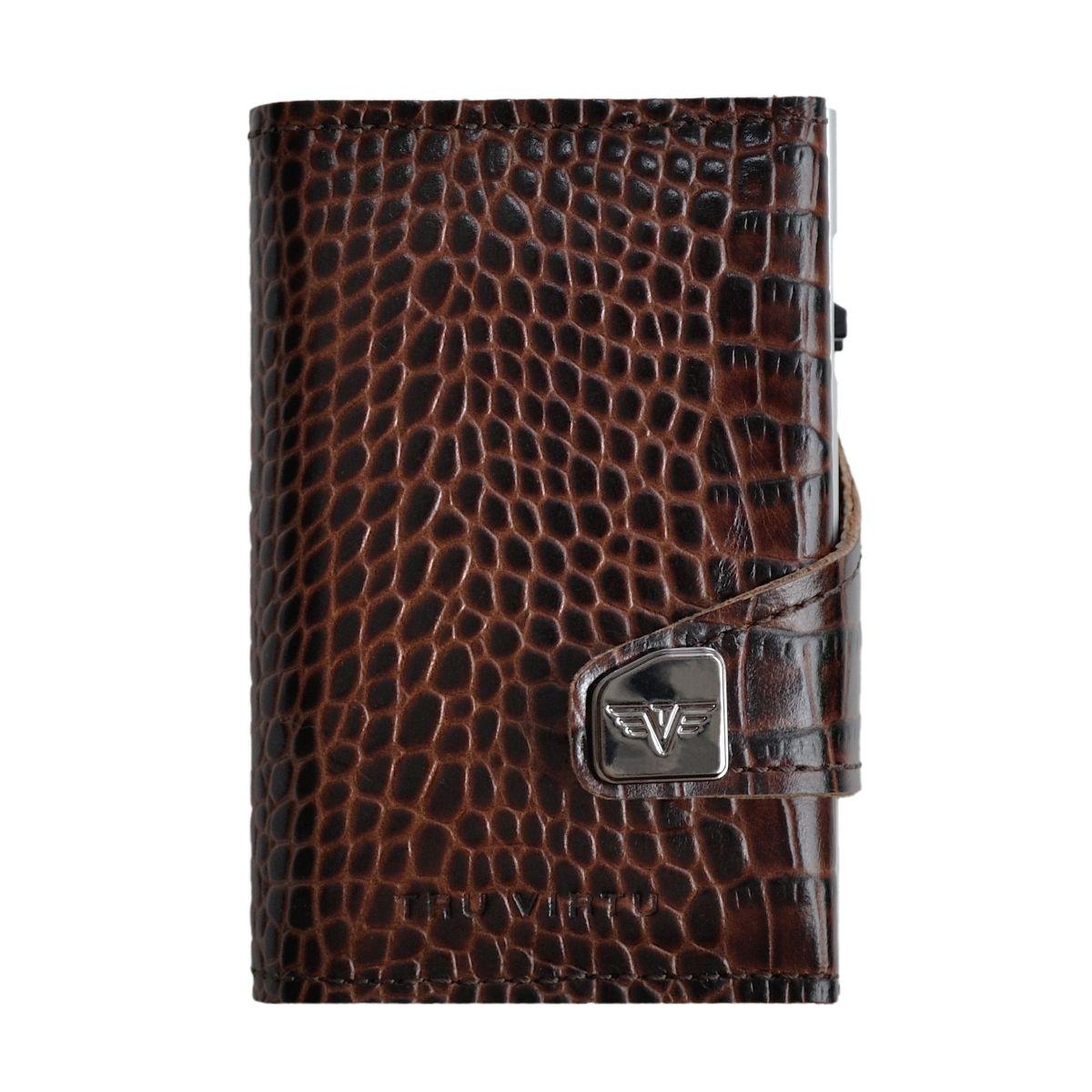 TRU VIRTU Click n Slide Double Wallet - Croco Brown