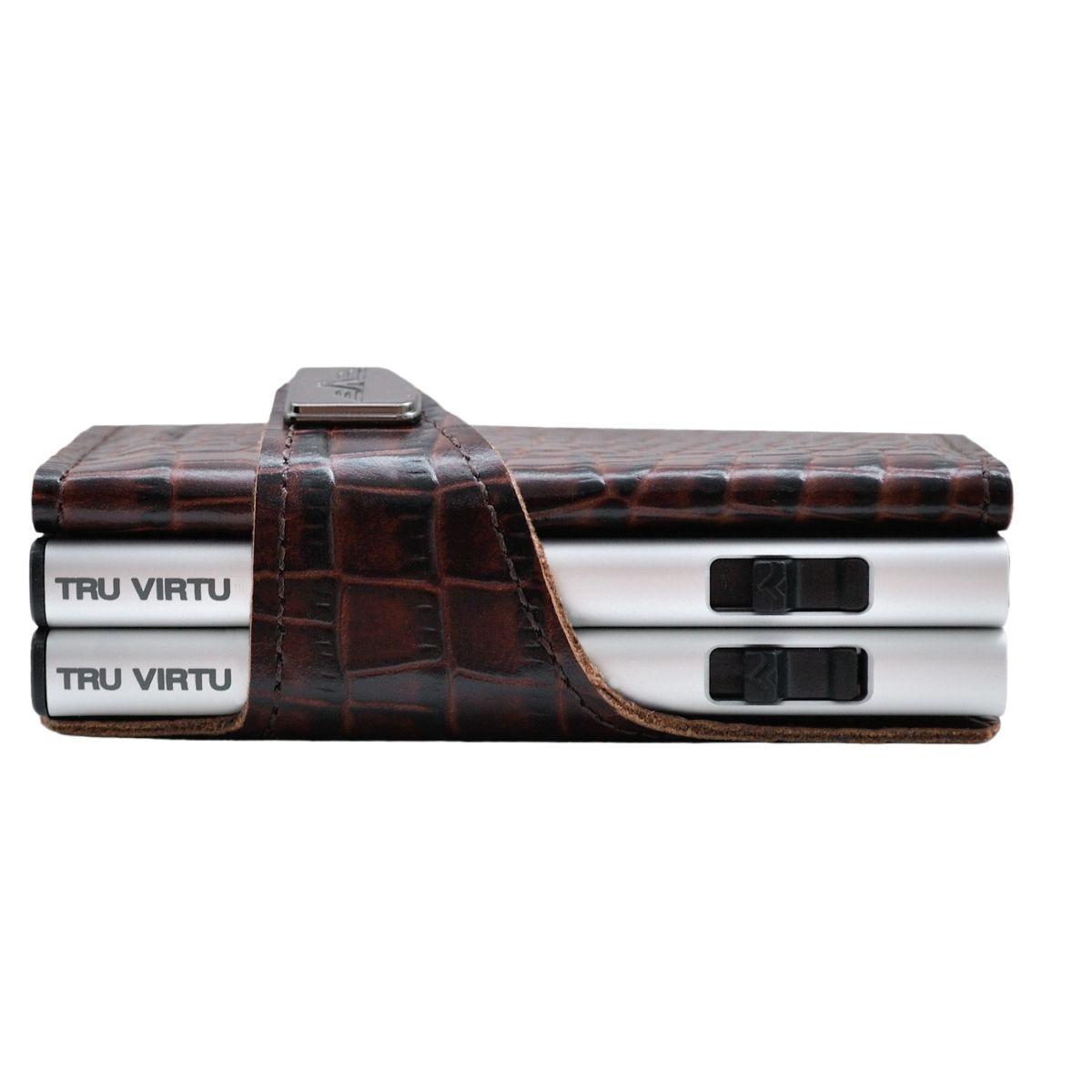 TRU VIRTU ארנק מינימלסטי כפול מאלומיניום בשילוב עור - חום תנין