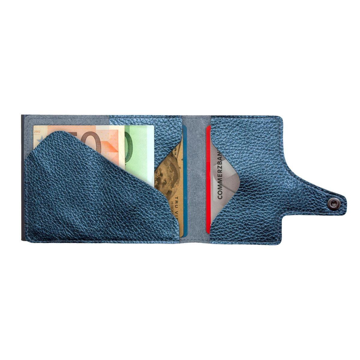 TRU VIRTU Click n Slide Wallet - Navy Metallic Titan